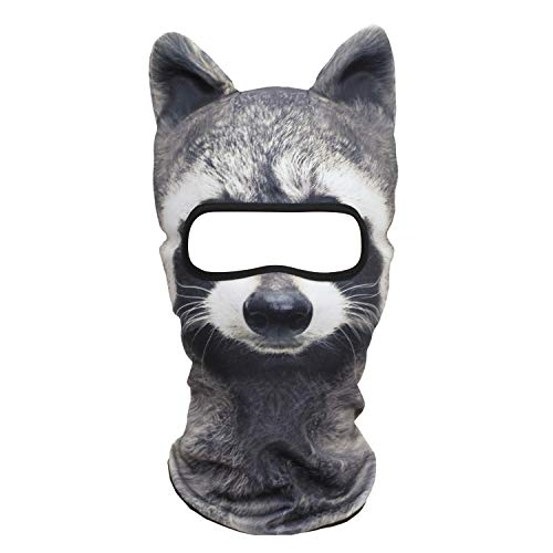 Funny 3D Animal Ears Winter Warmer Costume Halloween Party Snowboard Cat Dog Panda Fox Husky Full Face -