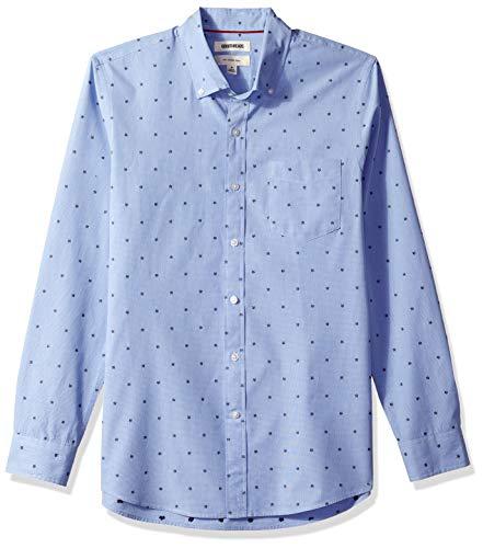 Goodthreads Men's Slim-Fit Long-Sleeve Dobby Shirt, -blue flower, XXX-Large Tall
