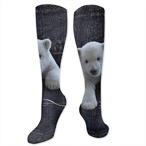 SARA NELL Knee High Socks White Bear Come From Denim Pockets Compression Socks Sports Athletic Socks Tube Stockings Long Socks Funny Personalized Gift Socks For Men Women