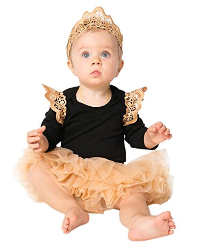 HappyDoggy Baby Girls 3PCS Party Onesie Culottes Crown Headband Outfits Set (L (6-12 Months)) (First Halloween Outfit)