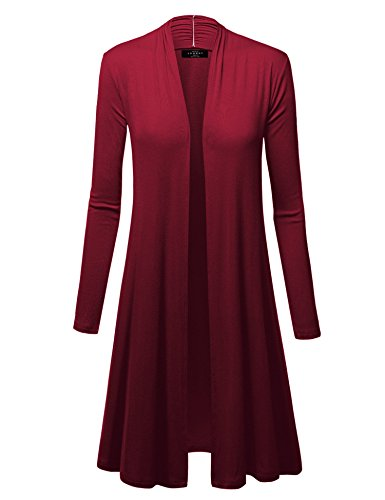 Made By Johnny WSK1048 Womens Solid Long Sleeve Open Front Long Cardigan S Wine