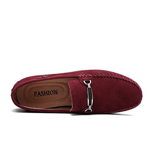 Baymate Hombres Moda Mocasines Zapatos Casuales Antideslizante Zapatos de Conducción Rojo
