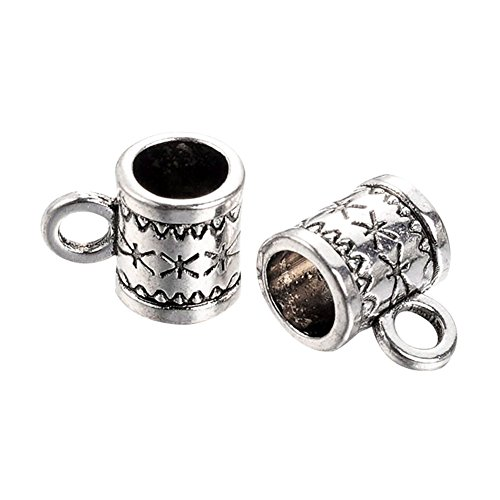 NBEADS 600pcs Tibetan Style Alloy Hanger Links, Bail Beads, Column, Cadmium Free & Nickel Free & Lead Free, Antique Silver, 11x8x6mm, Hole: 2~5mm