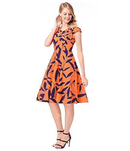 Cocktail Vintage Dress Floral 1950s Women Orange Print for Dresses Dreagel Short C 5wqY00