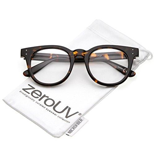 zeroUV - Classic Rivet Accent Wide Arms Clear Lens Horn Rimmed Eyeglasses 48mm (Shiny Tortoise / - Warby Wayfarer Parker