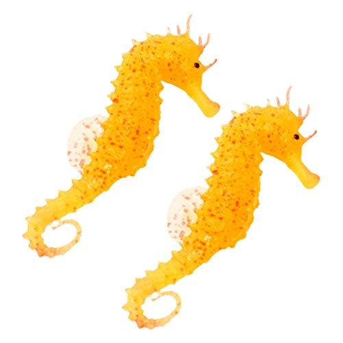 (Alimao 2pc Aquarium Fish Tank Landscaping Decor Glowing Effect Animal Sea Horse Orange)