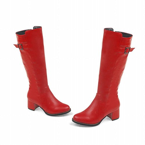 Mee Shoes Womens Fashion Mid-heel Long Western Boots Red fUCqZB