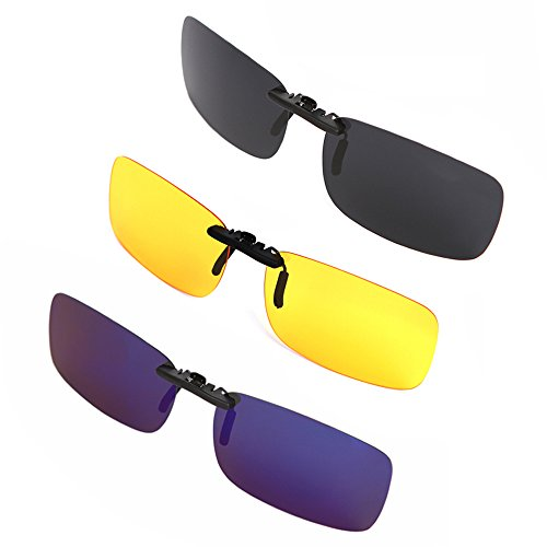 3 Pack Clip-on Sunglasses for Men and Women Driving Fishing Outdoor Sport Unisex-Yellow Night - Parts Sunglass