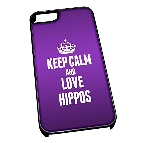 Cover per iPhone 5/5S Nero 2437Viola Keep Calm And Love, motivo: Ippopotami