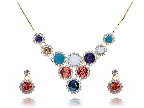 Alilang Intricate Fire Opal Swarovski Crystal Element Tiered Drop Earring Necklace Set