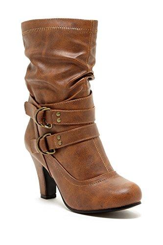 Charles Albert Womens Slouchy Mid-Calf Heeled Boots