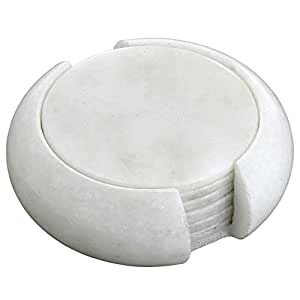 Handmade Round White Marble Drink Coasters with Holder - Set of 6 Stone Coaster Discs for Teacups and Glasses