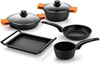 Bra Efficient Batería de cocina, 5 piezas antiadherente, apta para todo tipo de cocinas incluso inducción