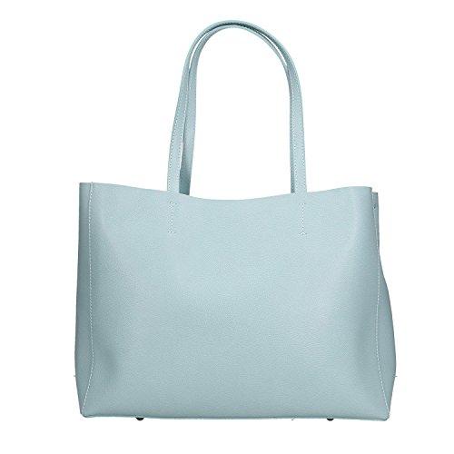 Chicca Borse Handbag Borsa a Mano in Vera Pelle Made in italy - 38x30x12 Cm Cielo