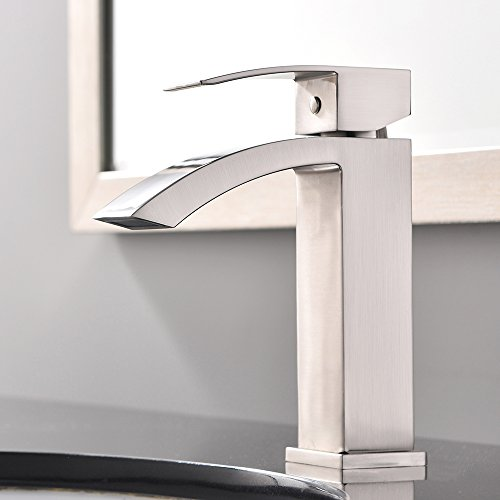 Single Hole Faucet (Shaco New Single Handle Brushed Nickel Stainless Steel Single Hole Lavatory Vessel Sink Bathroom Faucet,Brushed)