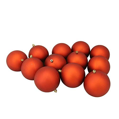12ct Burnt Orange Shatterproof Matte Christmas Ball Ornaments 4