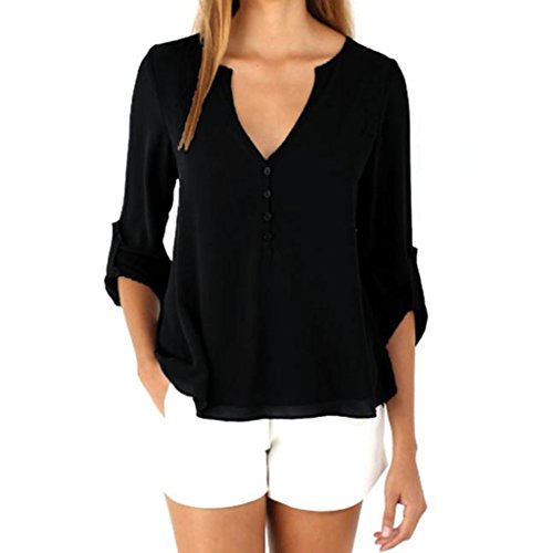 Cuffed Graphic - TAORE Womens Casual Chiffon T-shirt V-Neck Cuffed Button Detail Sleeve Blouse Top (XXL, Black)