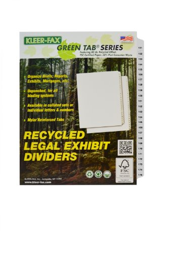 Free Kleer-Fax Letter-Size Index Dividers, Collated Numbered Sets, Side Tab, 1/25th Cut, 1 Set per Pack, White, 151-175
