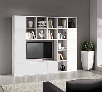 Parete attrezzata porta tv libreria bianco frassinato 25 elementi ...