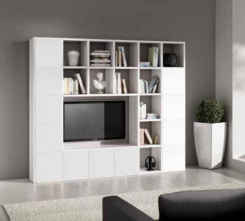 Wohnwand-TV Bücherregal weiß Esche 25 Elemente 12 Antine online kaufen