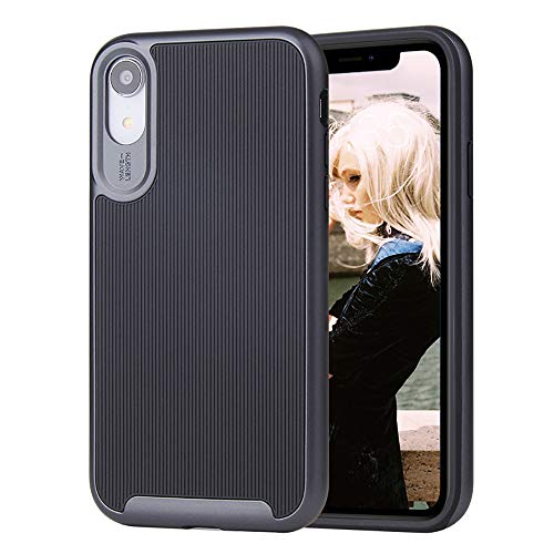 - ROITON for iPhone XR Case, 2019 Newest iPhone XR Cover, Shockproof Dual Layer Anti-Scratch Hybrid Slim Full Body Protective Case with Soft TPU Cover & Durable Hard PC Shell for iPhone XR (Black)