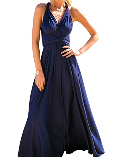 7684f035e9f CHOiES record your inspired fashion Women s Infinity Gown Dress Navy  Multi-Way Strap Wrap Convertible Maxi Dress S