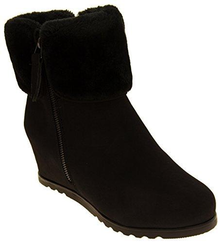 Botas de tobillo de gamuza de Fede de Keddo para mujer con puño Negro