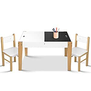 Kids Table and Chairs, Artiss Children's Wooden Study Desk and Chairs Set with Storage