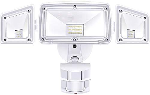 3 Head LED Security Lights Motion Outdoor Motion Sensor Light Outdoor 40W 3500 Lumens 5000k Waterproof IP65 ETL Motion Sensor Flood Light Exterior Security Light led Renewed