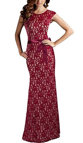 FORTRIC Women Elegant Halter Lace Wedding Bridesmaid Maxi Formal Dress(DarkRed,S) (Halter Lace Wedding Dress)