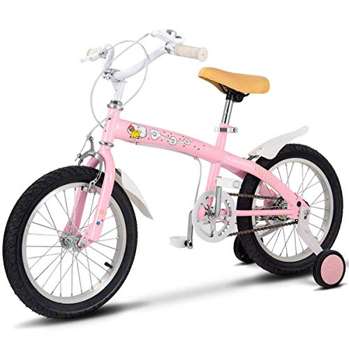 Costzon Kids Bike, Bicycle with Training Wheels & Hand Brake for Boys and Girls,12-16 Inch, Green, Pink, Yellow