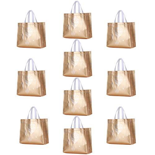 Rumcent Glossy Glitter Durable Reusable Grocery Bag Tote Bag Handles Bag,Medium Non-woven Fashionable Present Bag Gift Bag,Goodies Bag Shopping Bag,Promotional Bag,Totes,Bulk Bags Set Of 10 - G