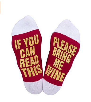 Best gift Funny causale calze di Natale calze calzini iF you can read Wine Christmas Gift for Lover, Friends, mamma e papà questo cotone Xmas socks-white Aknifetoo