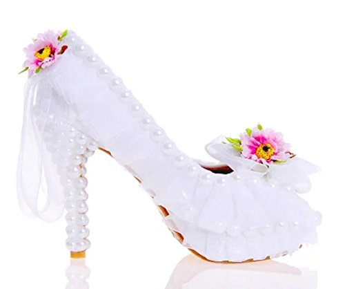 Party Heel Flower Women's Peep Shoes Dress Toe 12cm Stiletto TDA Dreamlike White Wedding Lace 6a706q