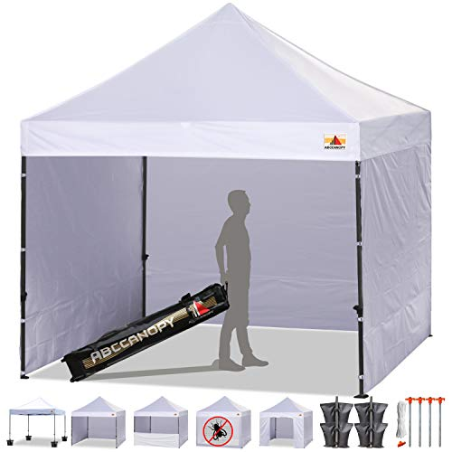 ABCCANOPY White 10 X 10 Ez Pop up Canopy Tent Commercial Instant Gazebos with 6 Removable Sides and Roller Bag and 4x Weight Bag For Sale