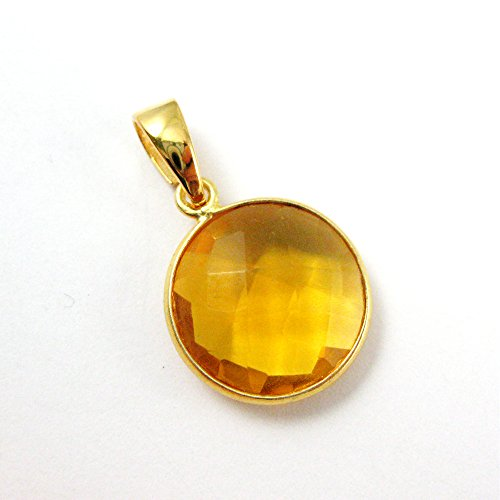 Bezel Gem Pendant with Bail - Citrine Quartz - 22K Gold plated Vermeil Round Coin Faceted Gemstone Pendant-24mm ()
