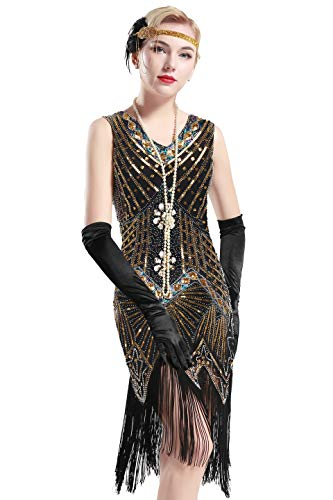 (BABEYOND Women's Flapper Dresses 1920s V Neck Beaded Fringed Great Gatsby Dress (Gold, S (Fits 26.8