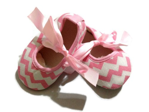 kwc-chevron-light-pink-baby-infant-toddler-crib-shoes-with-ribbons-zig-zag-12-cm