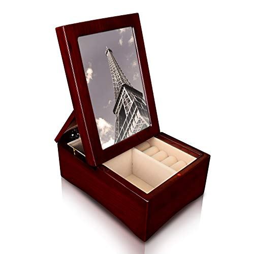 Ikee Design Wooden Glossy Rosewood Musical Jewelry Box with Fold-up 4x6 Photo Frame