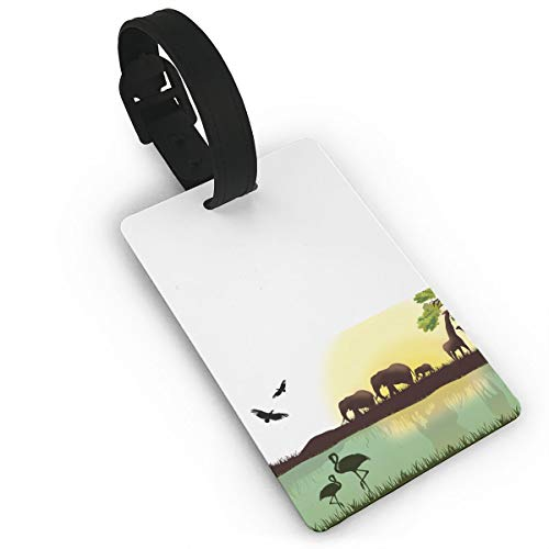 Africa Giraffe Flamingo Duffle Bag Tag Luggage Tag Suitcases Label by XinT