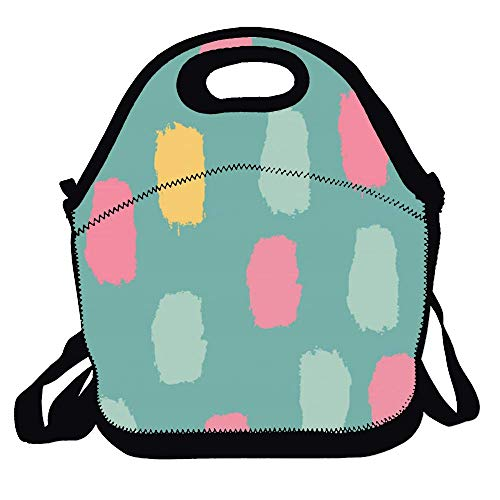 - Polyester Fiber Insulated Lunch Bag Hand Painted Colorful Graffiti Tote Travelling Picnic Handbags Food Container for Women Men Adults Kids Office Work