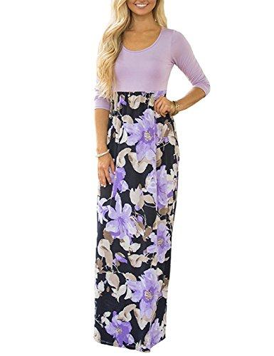 de714d3be37 Galleon - Demetory Women`s Boho Summer 3 4 Sleeve Empire Waist Floral Flowy  Long Maxi Dress 1470 Purple Large