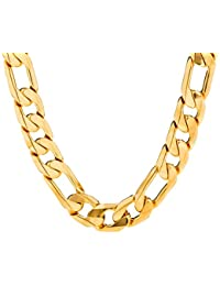 Figaro Chain 11MM, 24K Gold Over Semi-Precious Metals,...