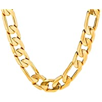 Lifetime Jewelry Figaro Chain 11MM, 24K Gold Over Semi-Precious Metals, Premium Fashion Jewelry, Hip Hop, Comes in a Box or Pouch for Gifts, Guaranteed for Life, 18 to 36 Inches