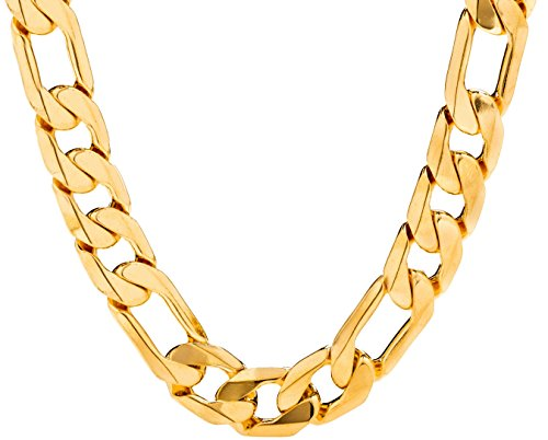(Lifetime Jewelry Figaro Chain 11MM, 24K Gold Over Semi-Precious Metals, Premium Fashion Jewelry, Hip Hop, Comes in a Box or Pouch for Gifts, Guaranteed for Life, Long, 30 Inches)