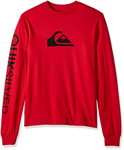 Quiksilver Men's Mountain and Wave Logo Long Sleeve Tee, Chili Pepper, (Quiksilver Mens Mountain Wave)