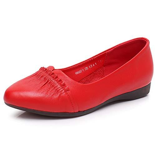 Comodidad de Cuero Suave Work Office de Zapatos de Moda Zapatos de Zapatos Planos FLYRCX Maternidad de C Suela Sra Casual waq7Z