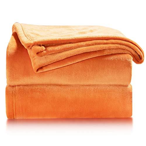 Bedsure Fleece Blanket Twin Size Orange Lightweight Twin Blanket Super Soft Cozy Luxury Bed Blanket Microfiber
