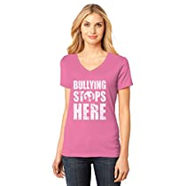 Bullying Stops Here - Wear Pink for Anti-Bullying V-Neck Women T-Shirt Small Pink