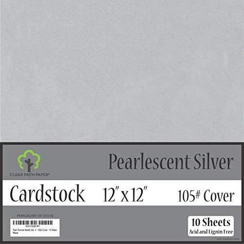 Pearl Shimmer Metallic Silver Cardstock - 12 x 12 inch - 105Lb Cover - 10 - Bazzill Cardstock 12x12 Metallics